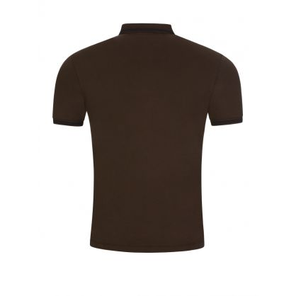 Brown Eagle Logo Tipped Polo Shirt
