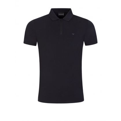 Navy Cotton Blend Zip Polo Shirt