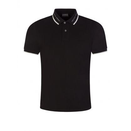Black Logo Stripe Polo Shirt