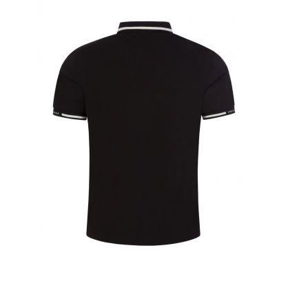 Black Stretch Piqué Logo Polo Shirt