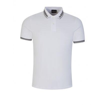 White EA Logo Collar Polo Shirt