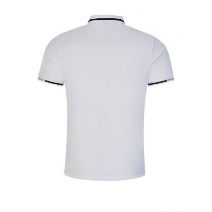 White Stretch Piqué Logo Polo Shirt