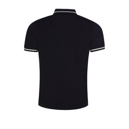Navy Intarsia Logo Collar Polo Shirt
