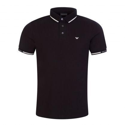 Black Mercerised Piqué Polo Shirt