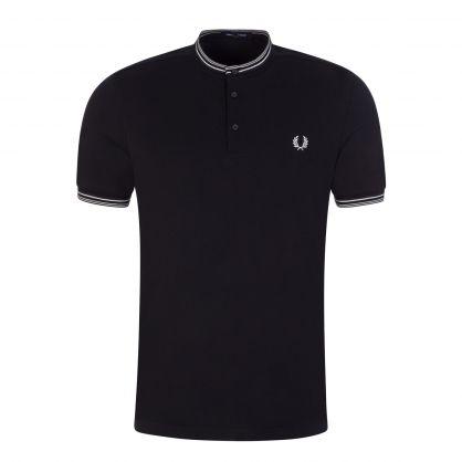 Navy Textured Henley Polo Shirt
