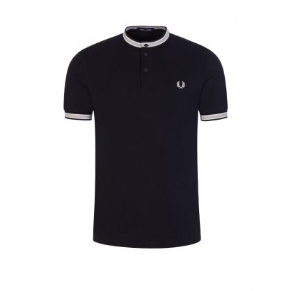Navy Textured Tipped Henley Polo Shirt