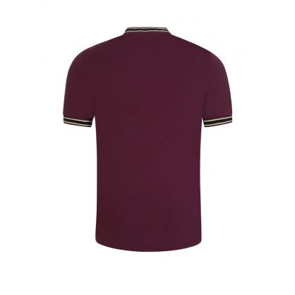 Dark Red Textured Tipped Henley Polo Shirt