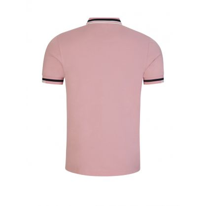 Pink Abstract Tipped Polo Shirt