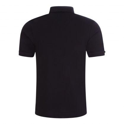 Black Button-Down Collar Polo Shirt