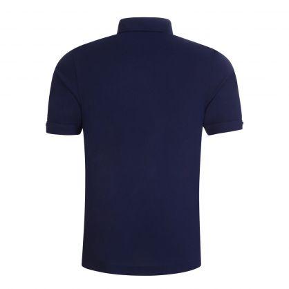 Navy Button Down Collar Polo Shirt