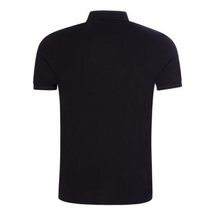 Black Knitted Stripe Polo Shirt
