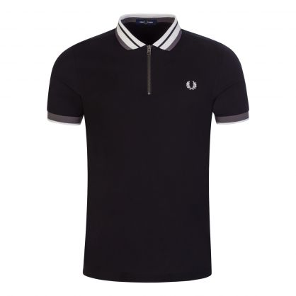 Black Zip Neck Polo Shirt