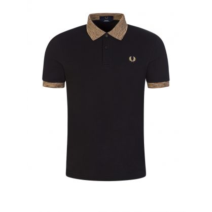 Fred Perry Black Space Dye Oxford Polo Shirt