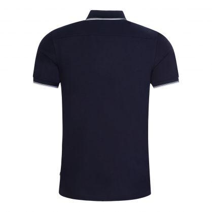 Navy Slim-Fit River Collar Tip Polo Shirt