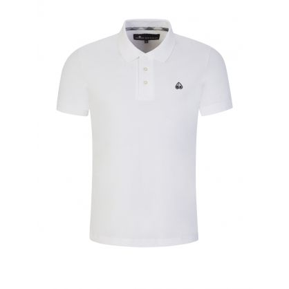 White Emboidered Silver Logo Polo Shirt