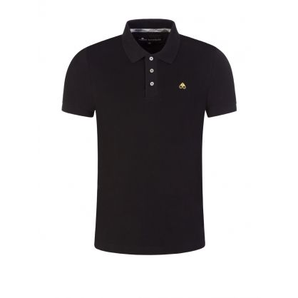 Black Embroidered Gold Logo Polo Shirt