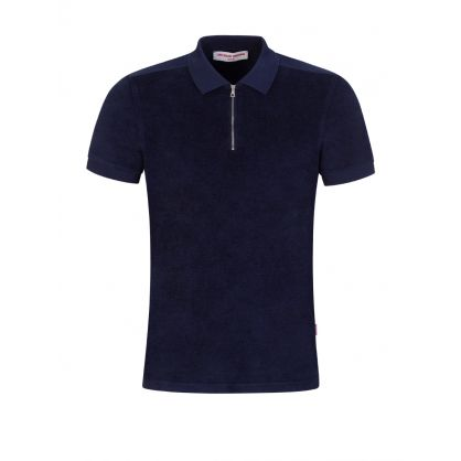 Navy Jefferson Towelling Polo Shirt