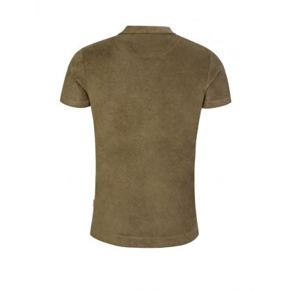 Green Tailored-Fit Terry Towelling Polo Shirt