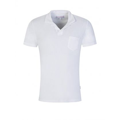 White Towelling Terry Polo Shirt