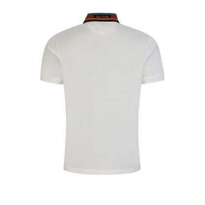 White Piqué Polo Shirt With Contrast Collar