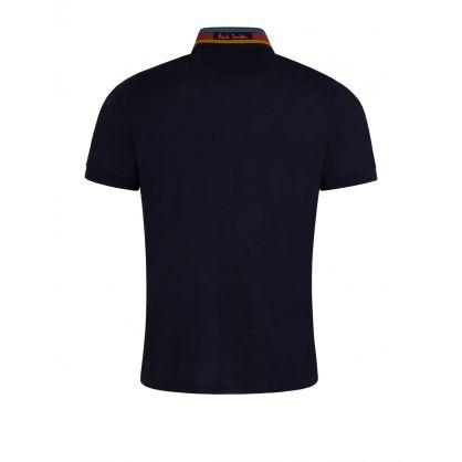 Navy Cotton-Piqué Contrast Collar Polo Shirt
