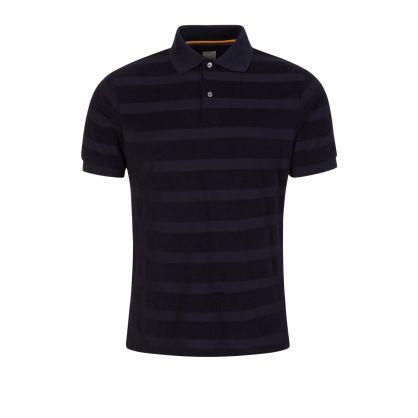 Navy Towelling Stripe Polo Shirt
