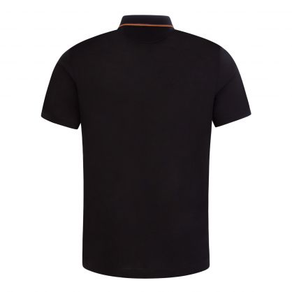 Black Ribbed Collar Polo Shirt