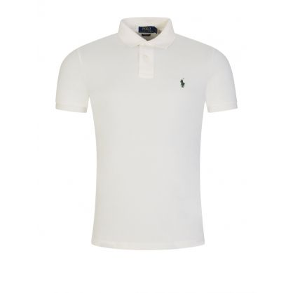 Cream Slim-Fit Essential Mesh Polo Shirt