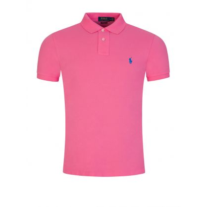 Pink Slim Fit Mesh Polo Shirt