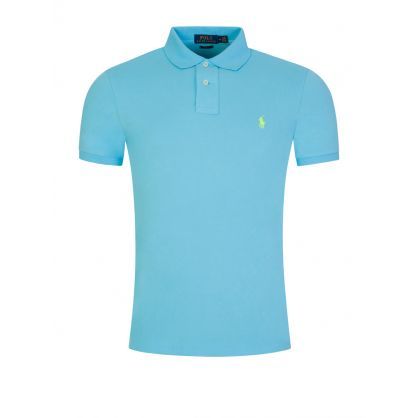 Blue Slim Mesh Polo Shirt