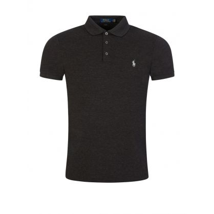 Black Slim-Fit Stretch Mesh Polo Shirt