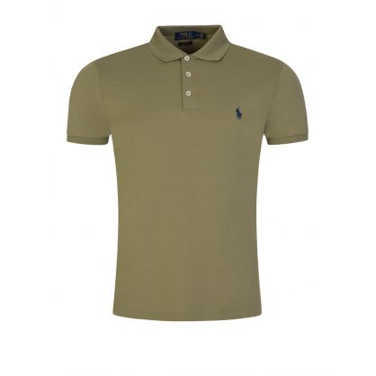 Green Slim Stretch Mesh Polo Shirt