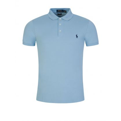 Blue Slim-Fit Stretch Mesh Polo Shirt
