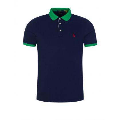 Navy Contrast Mesh Polo Shirt