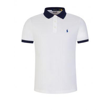 White Contrast Mesh Polo Shirt