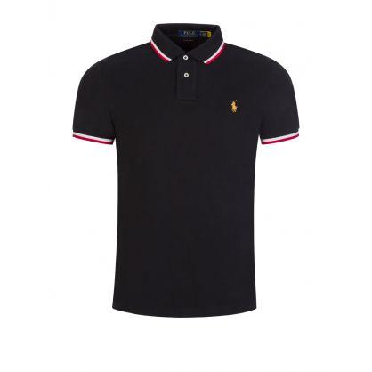 Black Mesh Long Sleeve Polo Shirt