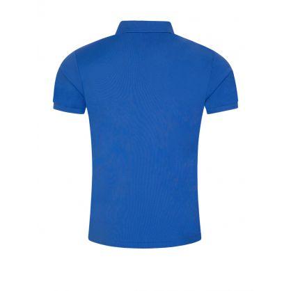 Blue Stretch Mesh Polo Shirt