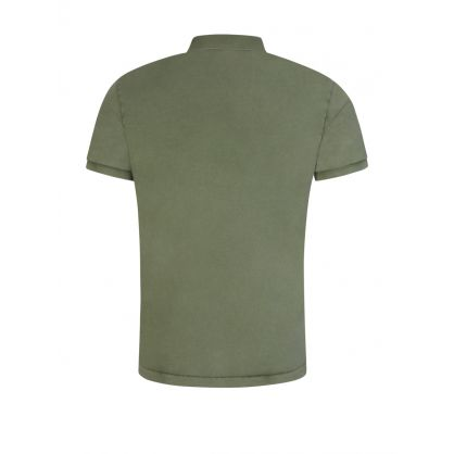 Green Washed Terry Polo Shirt