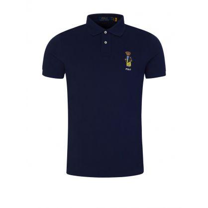 Navy Custom Slim-Fit Mesh Polo Shirt