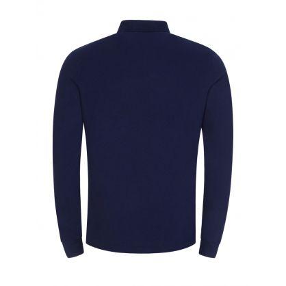 Navy Custom Slim-Fit Long-Sleeve Polo Shirt