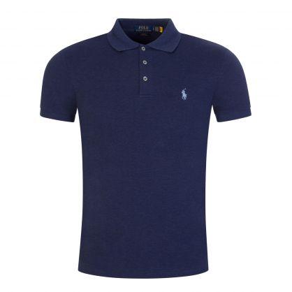 Navy Slim-Fit Stretch Mesh Cotton Polo Shirt