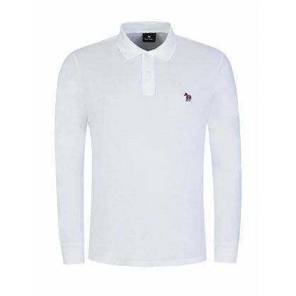 White Long Sleeve Zebra Logo Polo Shirt
