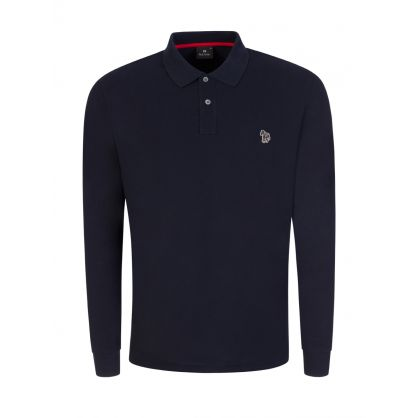 Navy Long-Sleeve Zebra Logo Polo Shirt