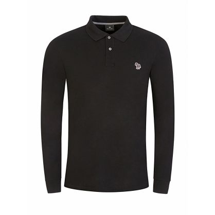 Black Long-Sleeve Zebra Polo Shirt