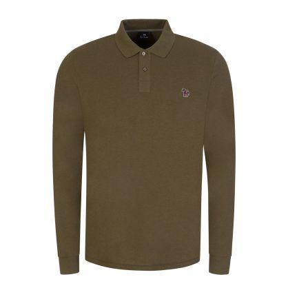 Green Organic-Cotton Long-Sleeve Zebra Polo Shirt