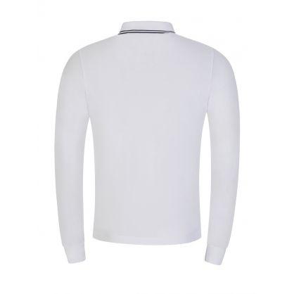 White Long-Sleeve Compass Logo Polo Shirt