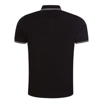 Black Stretch Cotton Pique Polo Shirt