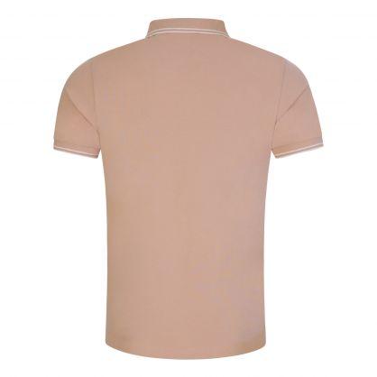 Beige Stretch Cotton Logo Polo Shirt