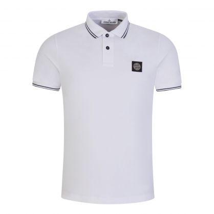 White Stretch Cotton Logo Polo Shirt