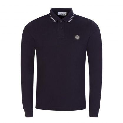 Navy Blue Stretch Cotton Piqué Long-Sleeve Polo Shirt